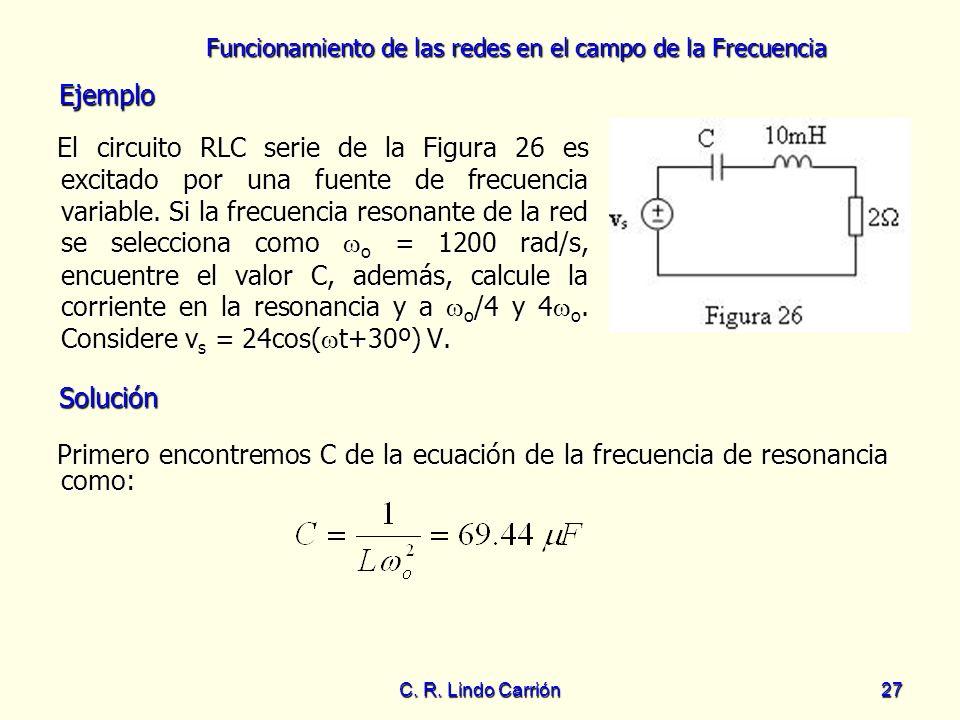 Funcionamiento de las redes en el campo de la Frecuencia C. R. Lindo Carrión27 El circuito RLC serie de la Figura 26 es excitado por una fuente de fre