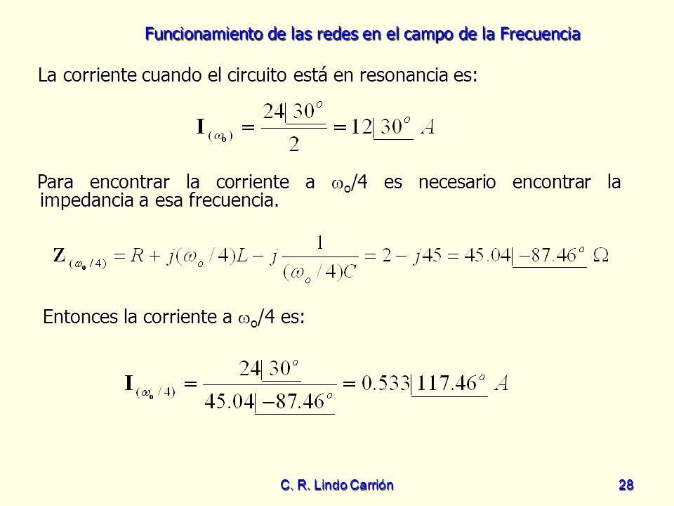 Funcionamiento de las redes en el campo de la Frecuencia C. R. Lindo Carrión28 La corriente cuando el circuito está en resonancia es: La corriente cua