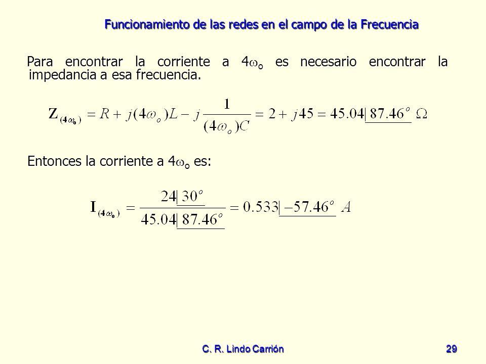 Funcionamiento de las redes en el campo de la Frecuencia C. R. Lindo Carrión29 Para encontrar la corriente a 4 o es necesario encontrar la impedancia