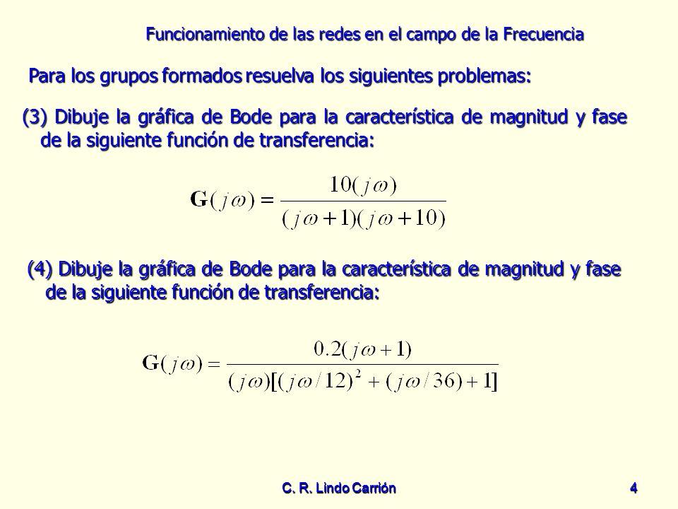 Funcionamiento de las redes en el campo de la Frecuencia C. R. Lindo Carrión4 4 Para los grupos formados resuelva los siguientes problemas: Para los g