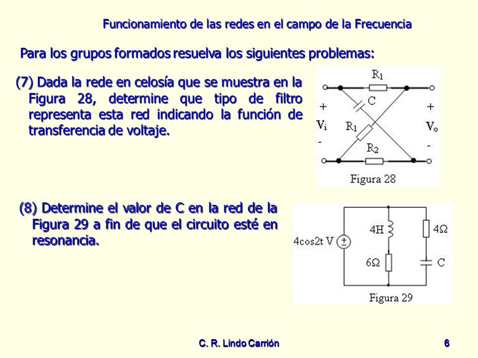 Funcionamiento de las redes en el campo de la Frecuencia C. R. Lindo Carrión6 6 Para los grupos formados resuelva los siguientes problemas: Para los g