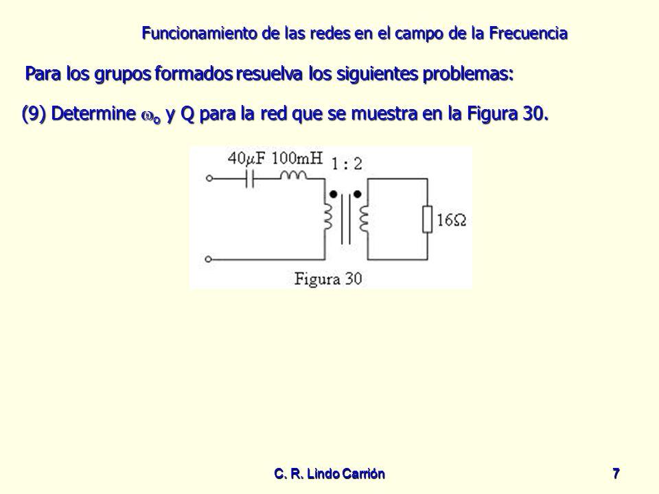 Funcionamiento de las redes en el campo de la Frecuencia C. R. Lindo Carrión7 7 Para los grupos formados resuelva los siguientes problemas: Para los g