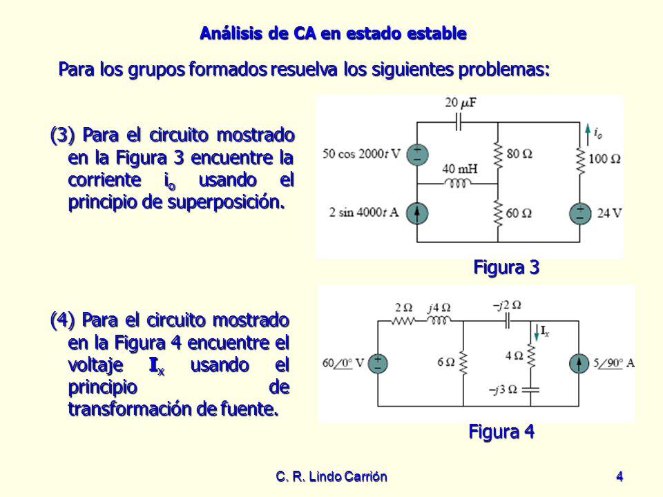 Análisis de CA en estado estable C. R. Lindo Carrión4 (3) Para el circuito mostrado en la Figura 3 encuentre la corriente i o usando el principio de s