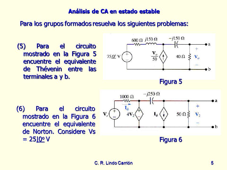 Análisis de CA en estado estable C. R. Lindo Carrión5 (5) Para el circuito mostrado en la Figura 5 encuentre el equivalente de Thévenin entre las term