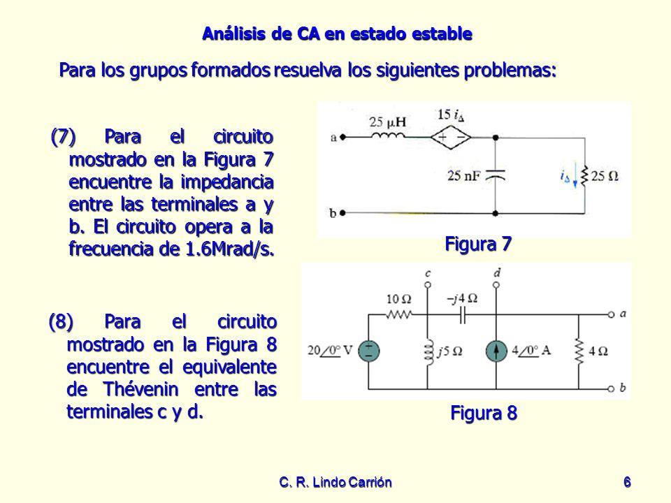 Análisis de CA en estado estable C. R. Lindo Carrión6 (7) Para el circuito mostrado en la Figura 7 encuentre la impedancia entre las terminales a y b.