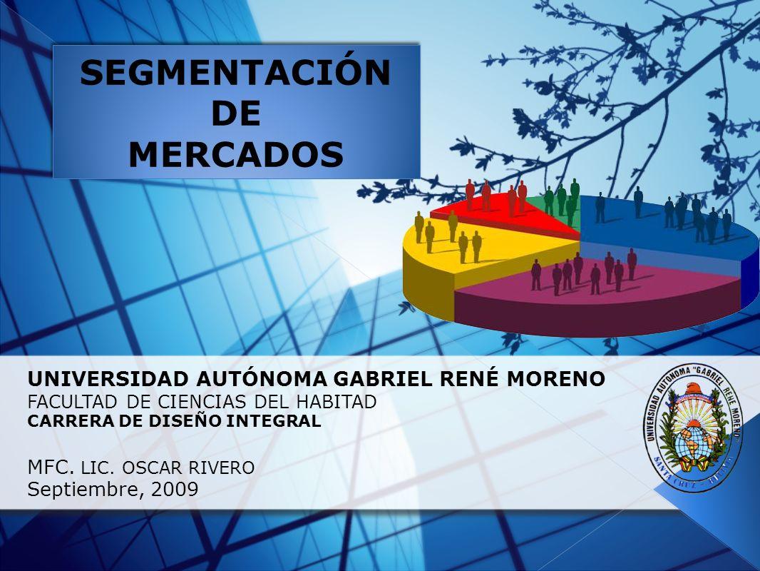UNIVERSIDAD AUTÓNOMA GABRIEL RENÉ MORENO FACULTAD DE CIENCIAS DEL HABITAD CARRERA DE DISEÑO INTEGRAL MFC. LIC. OSCAR RIVERO Septiembre, 2009 SEGMENTAC