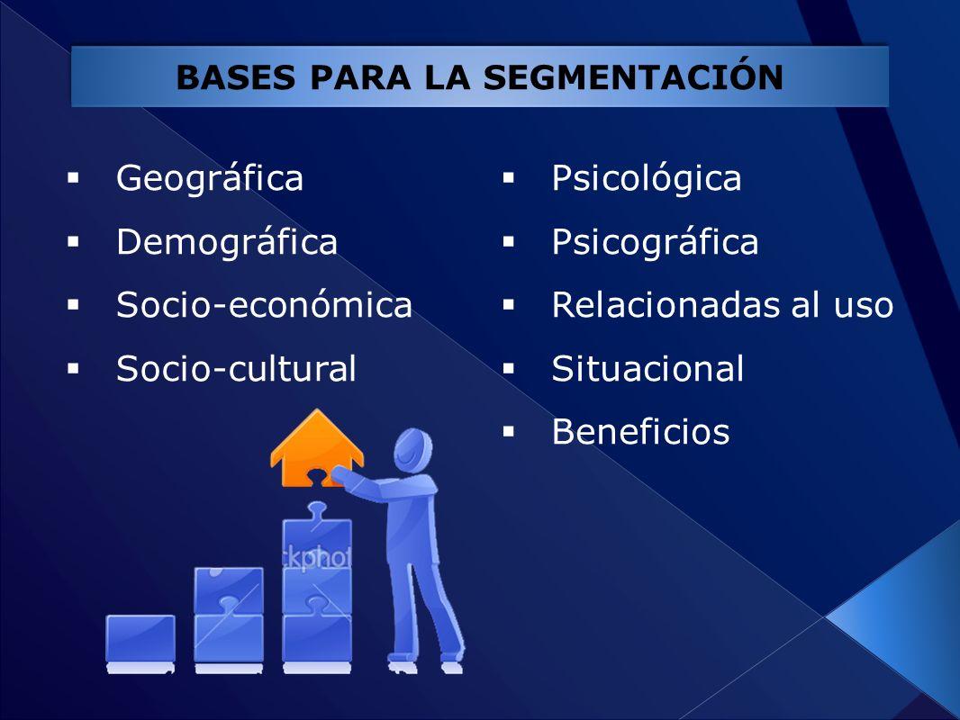 Geográfica Demográfica Socio-económica Socio-cultural BASES PARA LA SEGMENTACIÓN Psicológica Psicográfica Relacionadas al uso Situacional Beneficios