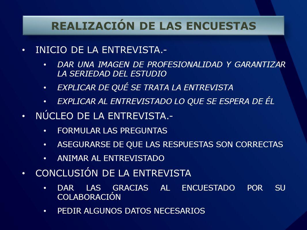 REALIZACIÓN DE LAS ENCUESTAS INICIO DE LA ENTREVISTA.- DAR UNA IMAGEN DE PROFESIONALIDAD Y GARANTIZAR LA SERIEDAD DEL ESTUDIO EXPLICAR DE QUÉ SE TRATA LA ENTREVISTA EXPLICAR AL ENTREVISTADO LO QUE SE ESPERA DE ÉL NÚCLEO DE LA ENTREVISTA.- FORMULAR LAS PREGUNTAS ASEGURARSE DE QUE LAS RESPUESTAS SON CORRECTAS ANIMAR AL ENTREVISTADO CONCLUSIÓN DE LA ENTREVISTA DAR LAS GRACIAS AL ENCUESTADO POR SU COLABORACIÓN PEDIR ALGUNOS DATOS NECESARIOS