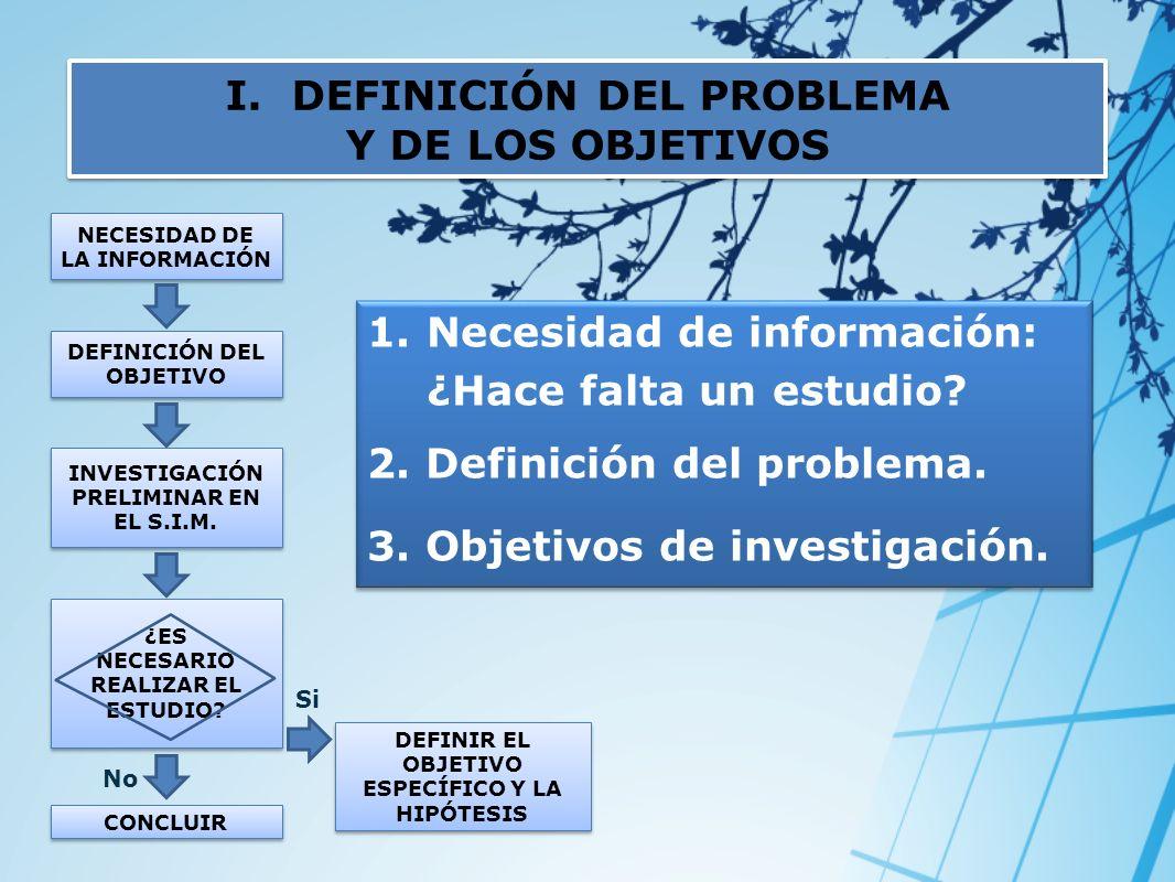 I.DEFINICIÓN DEL PROBLEMA Y DE LOS OBJETIVOS I.DEFINICIÓN DEL PROBLEMA Y DE LOS OBJETIVOS NECESIDAD DE LA INFORMACIÓN No DEFINICIÓN DEL OBJETIVO INVES