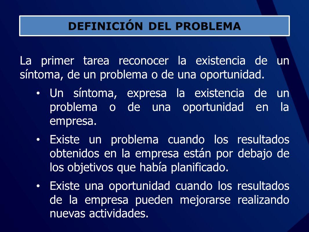 La primer tarea reconocer la existencia de un síntoma, de un problema o de una oportunidad. Un síntoma, expresa la existencia de un problema o de una