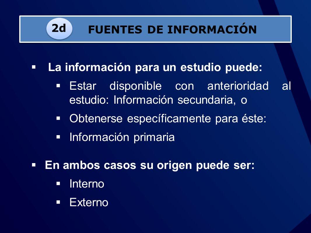 La información para un estudio puede: Estar disponible con anterioridad al estudio: Información secundaria, o Obtenerse específicamente para éste: Inf