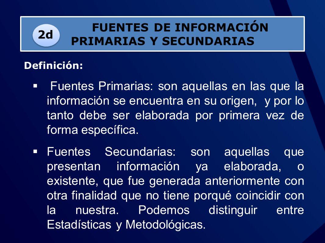 Fuentes Primarias: son aquellas en las que la información se encuentra en su origen, y por lo tanto debe ser elaborada por primera vez de forma especí