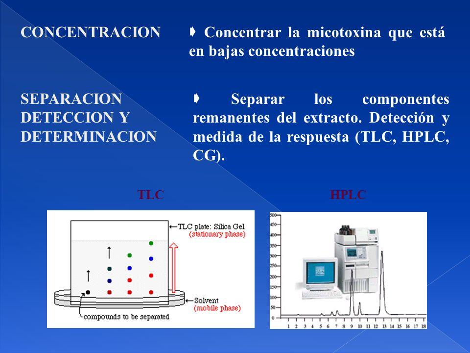 CONCENTRACION Concentrar la micotoxina que está en bajas concentraciones SEPARACION DETECCION Y DETERMINACION Separar los componentes remanentes del extracto.