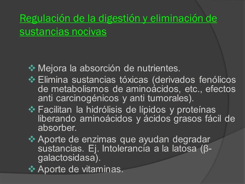 Regulación de la digestión y eliminación de sustancias nocivas Mejora la absorción de nutrientes. Elimina sustancias tóxicas (derivados fenólicos de m