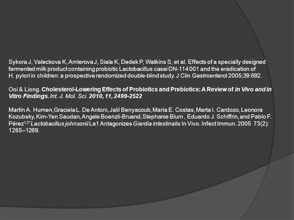 Sykora J, Valeckova K, Amlerova J, Siala K, Dedek P, Watkins S, et al. Effects of a specially designed fermented milk product containing probiotic Lac