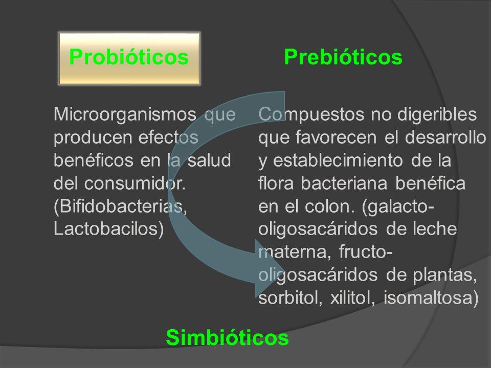 ProbióticosPrebióticos Microorganismos que producen efectos benéficos en la salud del consumidor. (Bifidobacterias, Lactobacilos) Compuestos no digeri