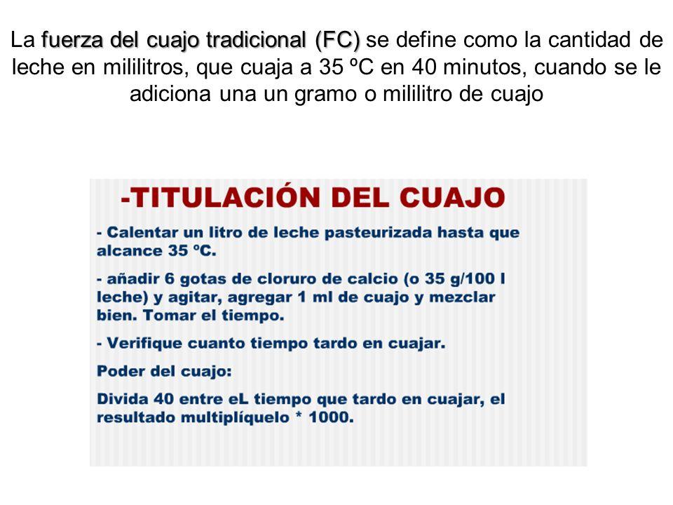 fuerza del cuajo tradicional (FC) La fuerza del cuajo tradicional (FC) se define como la cantidad de leche en mililitros, que cuaja a 35 ºC en 40 minu