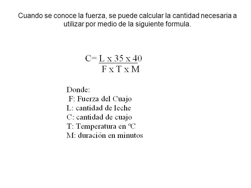 Cuando se conoce la fuerza, se puede calcular la cantidad necesaria a utilizar por medio de la siguiente formula.