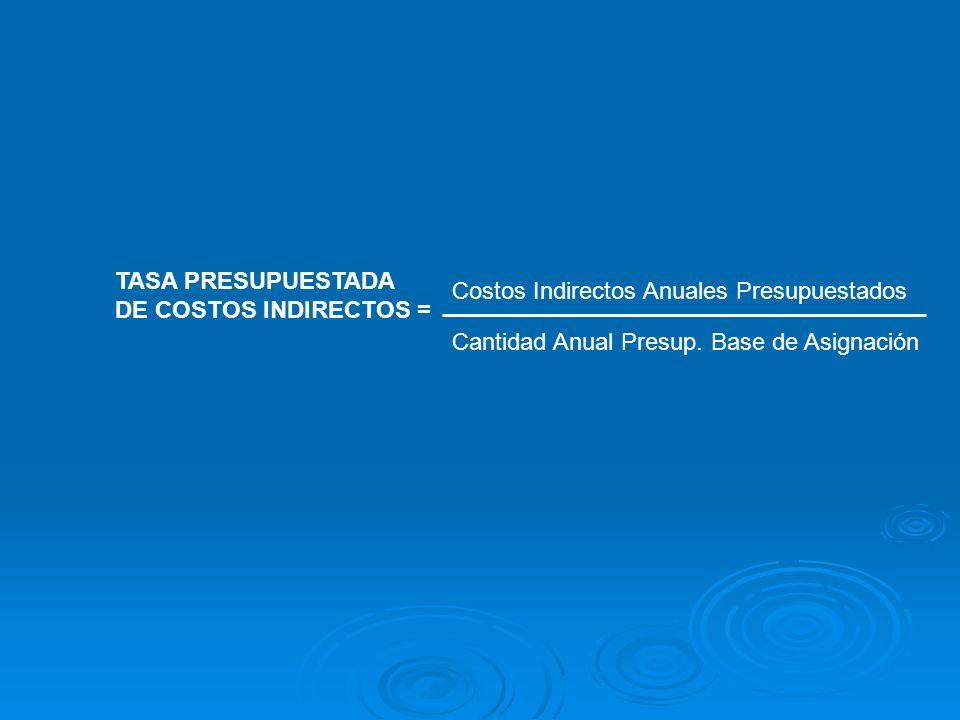 TASA PRESUPUESTADA DE COSTOS INDIRECTOS = Costos Indirectos Anuales Presupuestados Cantidad Anual Presup. Base de Asignación