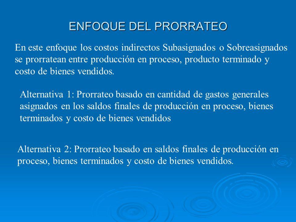 ENFOQUE DEL PRORRATEO En este enfoque los costos indirectos Subasignados o Sobreasignados se prorratean entre producción en proceso, producto terminad