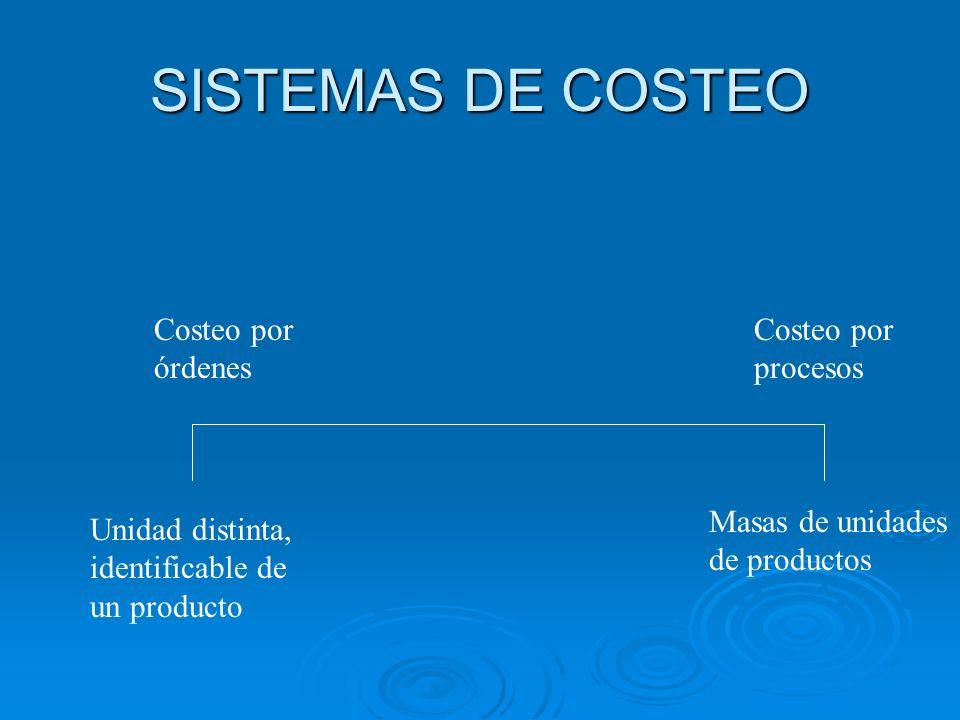 SISTEMAS DE COSTEO Costeo por órdenes Costeo por procesos Unidad distinta, identificable de un producto Masas de unidades de productos