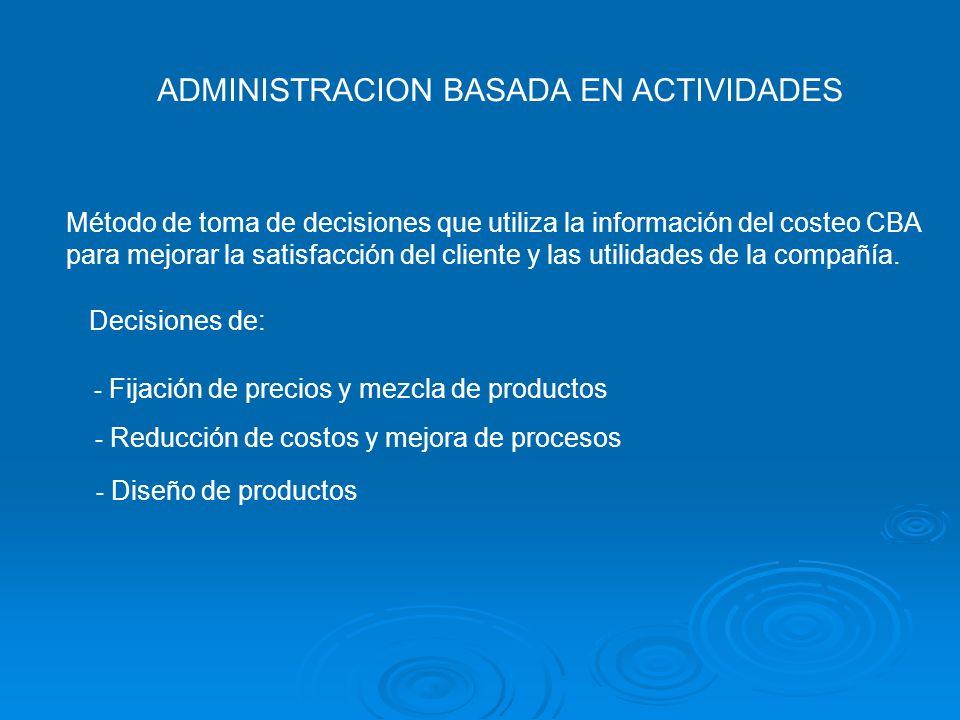 ADMINISTRACION BASADA EN ACTIVIDADES Método de toma de decisiones que utiliza la información del costeo CBA para mejorar la satisfacción del cliente y