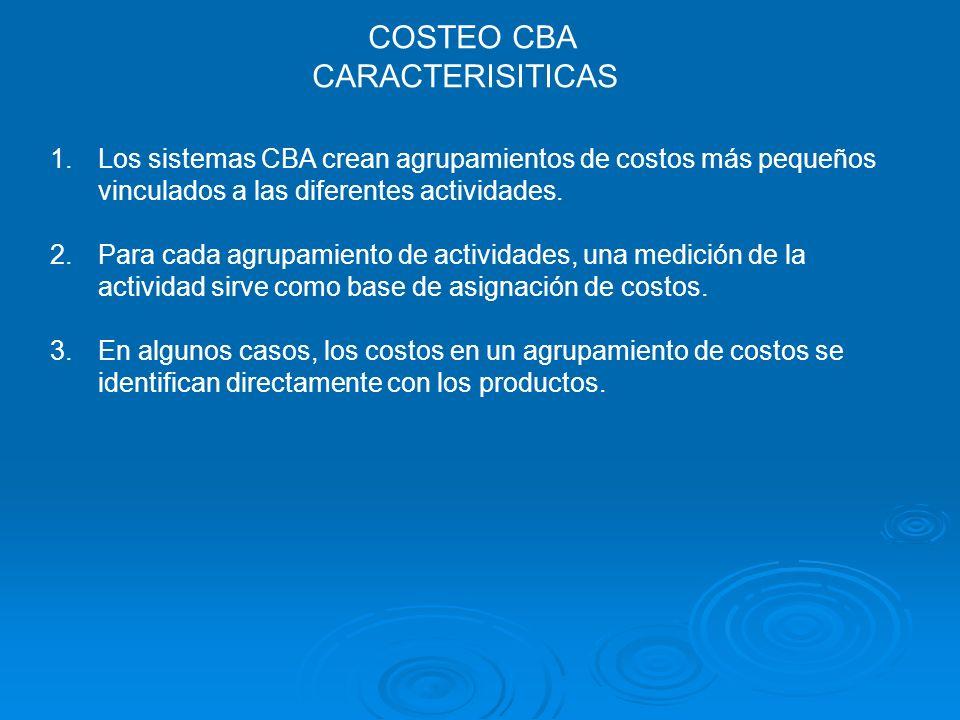 COSTEO CBA CARACTERISITICAS 1.Los sistemas CBA crean agrupamientos de costos más pequeños vinculados a las diferentes actividades. 2.Para cada agrupam