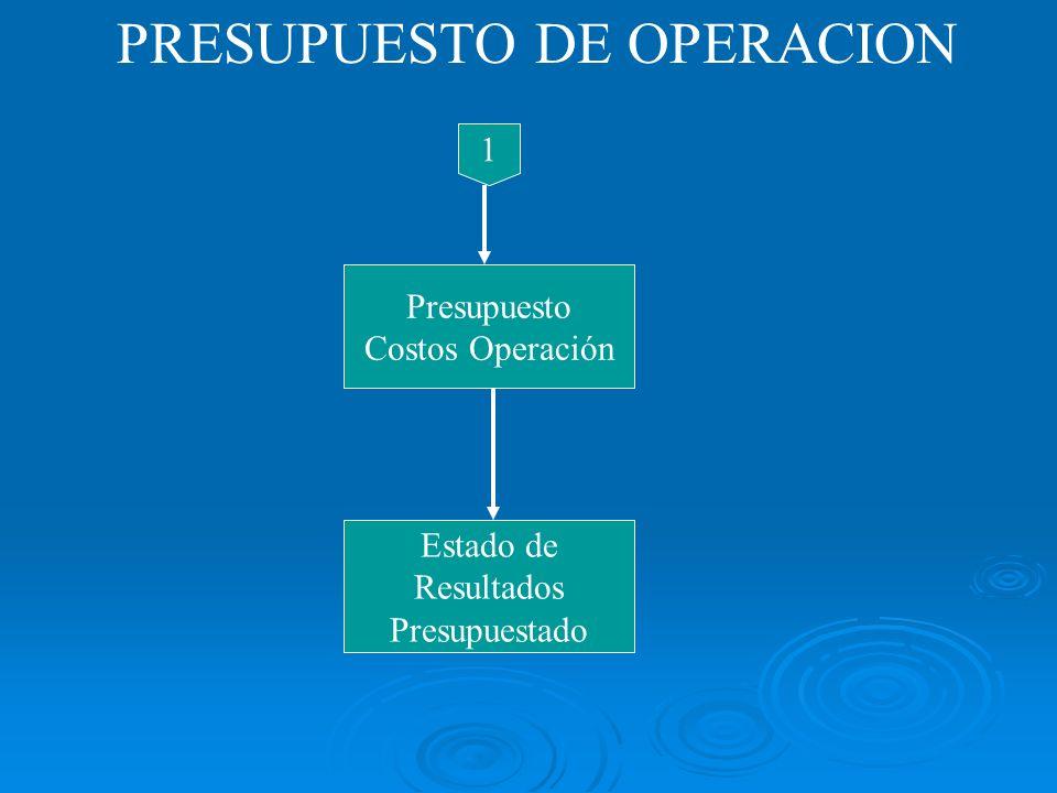 PRESUPUESTO DE OPERACION 1 Presupuesto Costos Operación Estado de Resultados Presupuestado