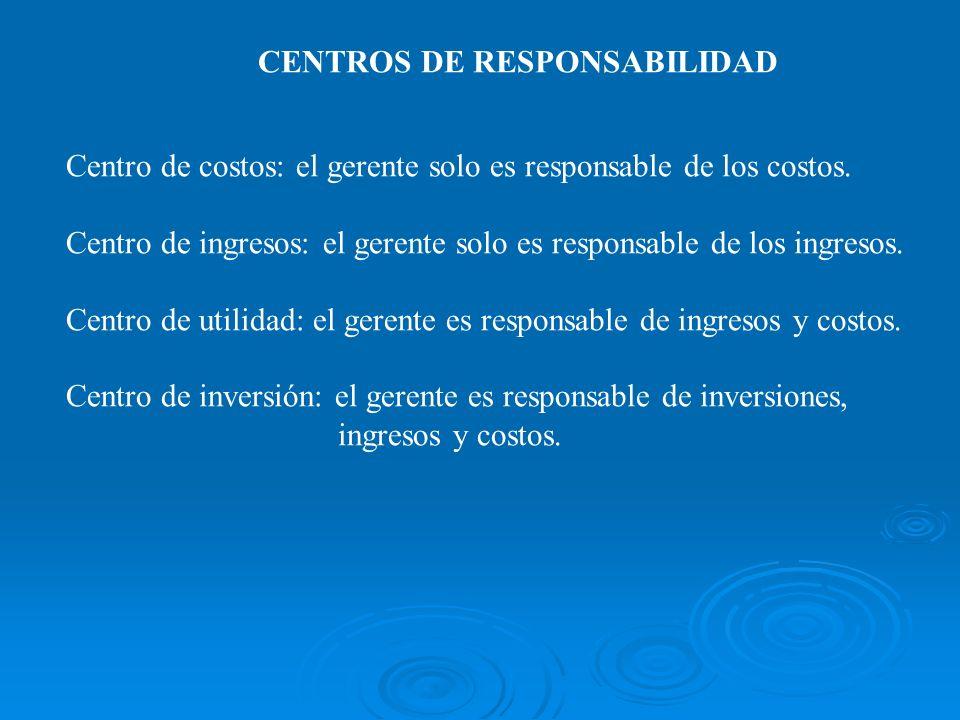 CENTROS DE RESPONSABILIDAD Centro de costos: el gerente solo es responsable de los costos. Centro de ingresos: el gerente solo es responsable de los i