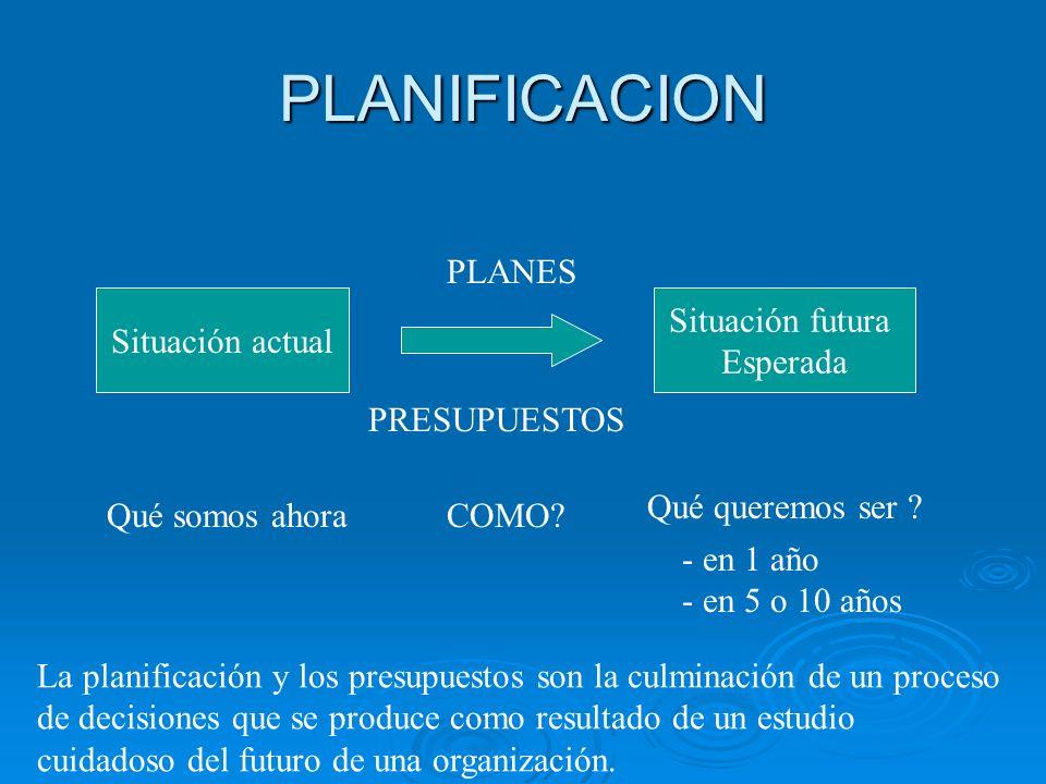 PLANIFICACION Situación actual Situación futura Esperada Qué somos ahora Qué queremos ser ? - en 1 año - en 5 o 10 años PLANES La planificación y los