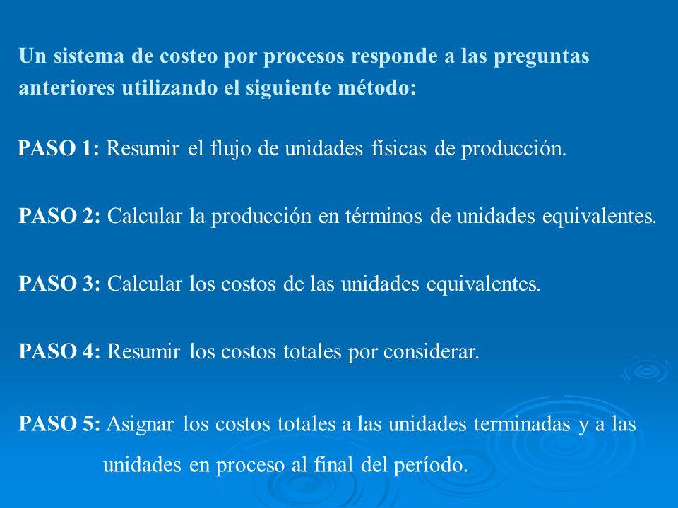 PASO 3: Calcular los costos de las unidades equivalentes. PASO 4: Resumir los costos totales por considerar. PASO 5: Asignar los costos totales a las