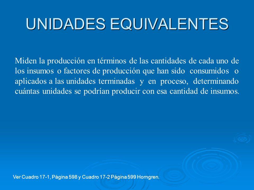 UNIDADES EQUIVALENTES Miden la producción en términos de las cantidades de cada uno de los insumos o factores de producción que han sido consumidos o