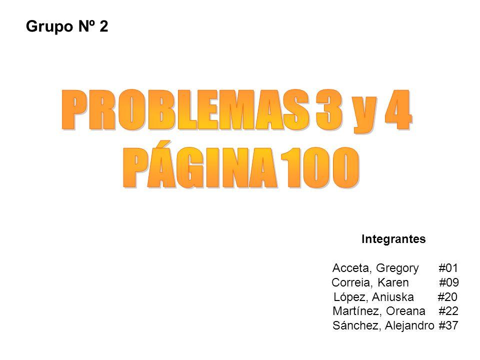 Integrantes Acceta, Gregory #01 Correia, Karen #09 López, Aniuska #20 Martínez, Oreana #22 Sánchez, Alejandro #37 Grupo Nº 2