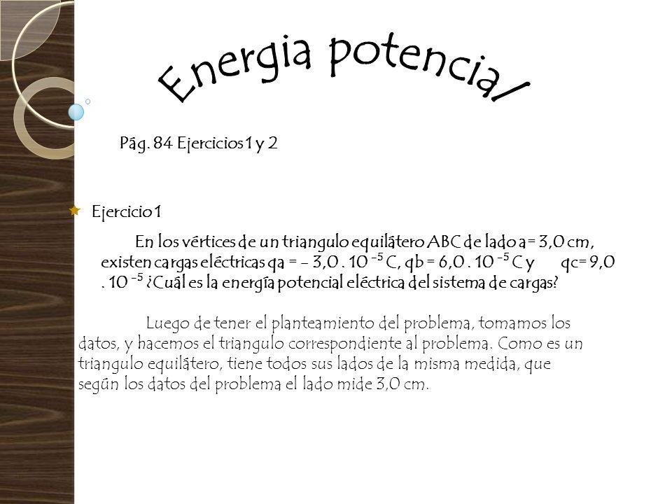 Pág. 84 Ejercicios 1 y 2 Ejercicio 1 En los vértices de un triangulo equilátero ABC de lado a= 3,0 cm, existen cargas eléctricas qa = - 3,0. 10 -5 C,
