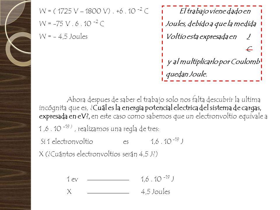 W = ( 1725 V – 1800 V). +6. 10 -2 CEl trabajo viene dado en W = -75 V. 6. 10 -2 C Joules, debido a que la medida W = - 4,5 Joules Voltio esta expresad