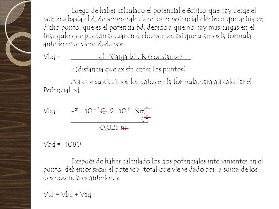 Luego de haber calculado el potencial eléctrico que hay desde el punto a hasta el d, debemos calcular el otro potencial eléctrico que actúa en dicho p