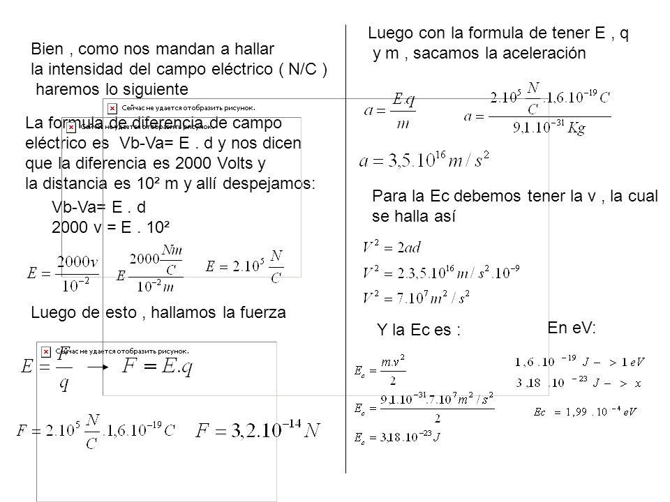 Bien, como nos mandan a hallar la intensidad del campo eléctrico ( N/C ) haremos lo siguiente La formula de diferencia de campo eléctrico es Vb-Va= E.