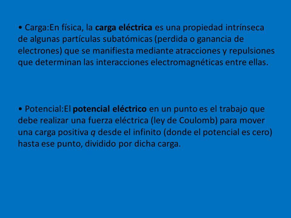 Carga:En física, la carga eléctrica es una propiedad intrínseca de algunas partículas subatómicas (perdida o ganancia de electrones) que se manifiesta