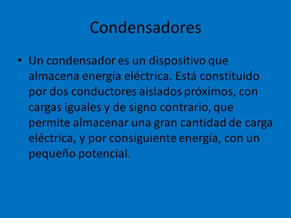 Condensadores Un condensador es un dispositivo que almacena energía eléctrica. Está constituido por dos conductores aislados próximos, con cargas igua