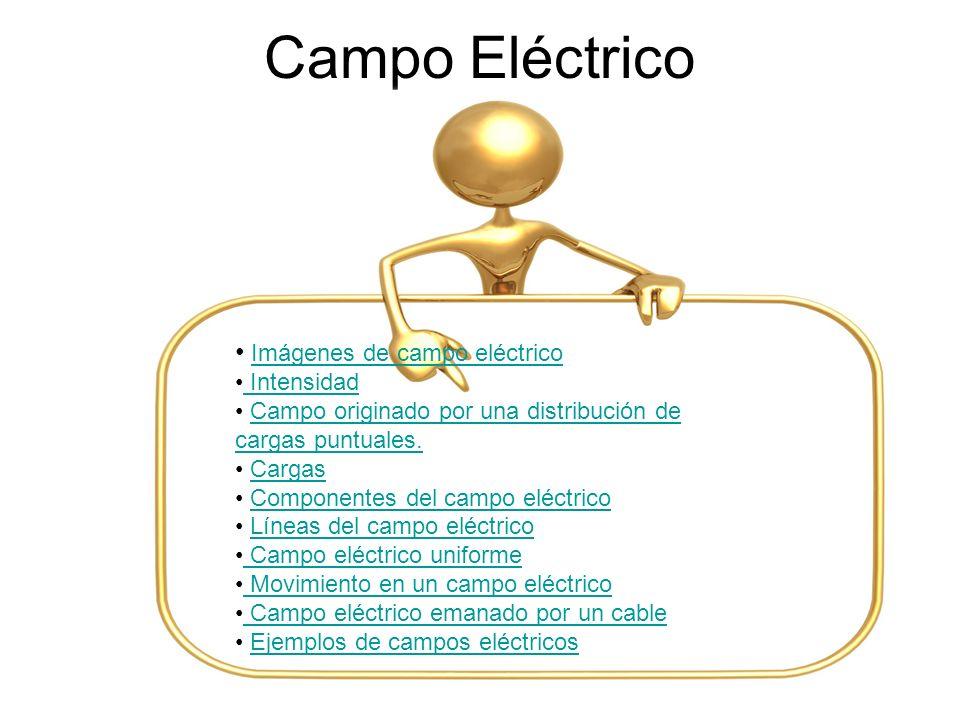 Campo Eléctrico Imágenes de campo eléctrico Intensidad Campo originado por una distribución de cargas puntuales.Campo originado por una distribución d