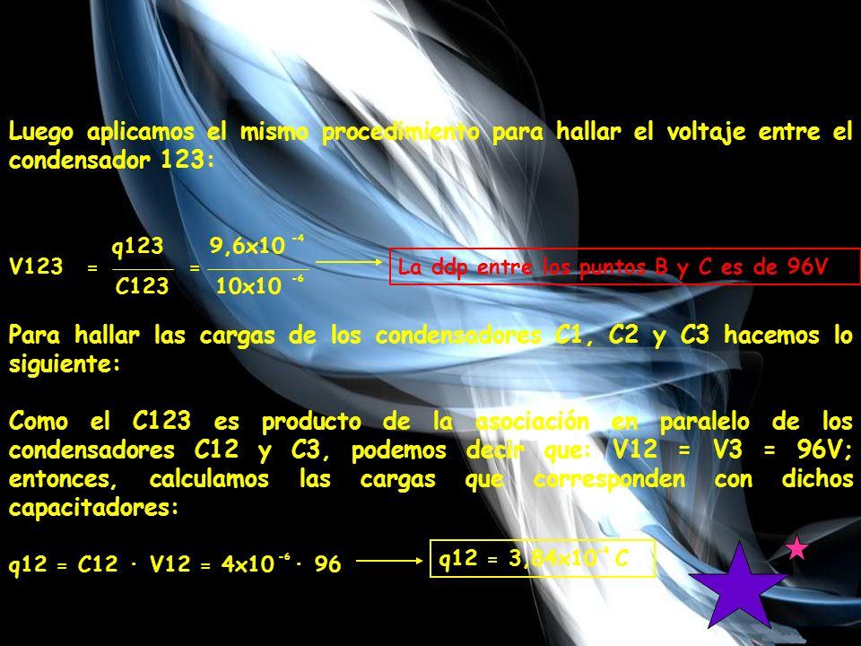 Luego aplicamos el mismo procedimiento para hallar el voltaje entre el condensador 123: V123 q123 9,6x10 C123 10x10 == -4 -6 La ddp entre los puntos B y C es de 96V Para hallar las cargas de los condensadores C1, C2 y C3 hacemos lo siguiente: Como el C123 es producto de la asociación en paralelo de los condensadores C12 y C3, podemos decir que: V12 = V3 = 96V; entonces, calculamos las cargas que corresponden con dichos capacitadores: q12 = C12 · V12 = 4x10 · 96 -6 q12 = 3,84x10 C -4
