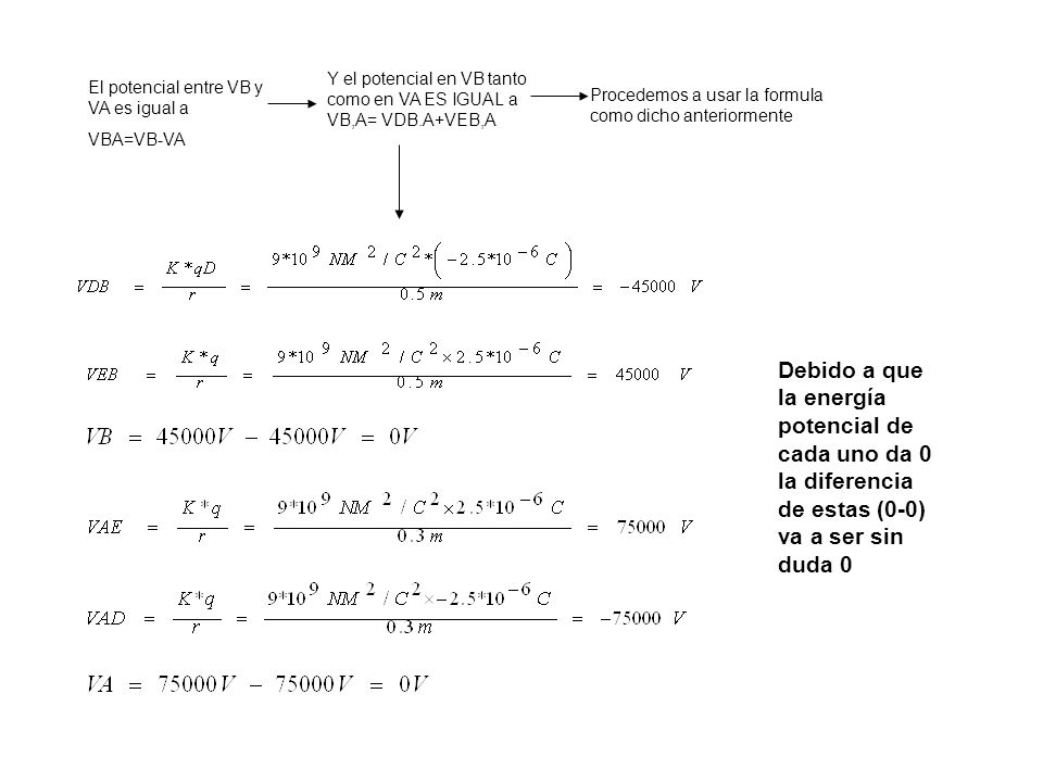El potencial entre VB y VA es igual a VBA=VB-VA Y el potencial en VB tanto como en VA ES IGUAL a VB,A= VDB.A+VEB,A Procedemos a usar la formula como dicho anteriormente Debido a que la energía potencial de cada uno da 0 la diferencia de estas (0-0) va a ser sin duda 0
