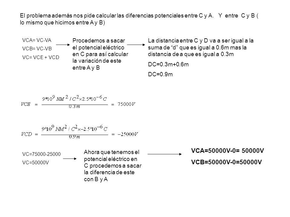 Ahora el problema nos pide calcular el trabajo de una carga que siga el camina de BAC, para eso usamos la formula de trabajo que es: W=V*q.