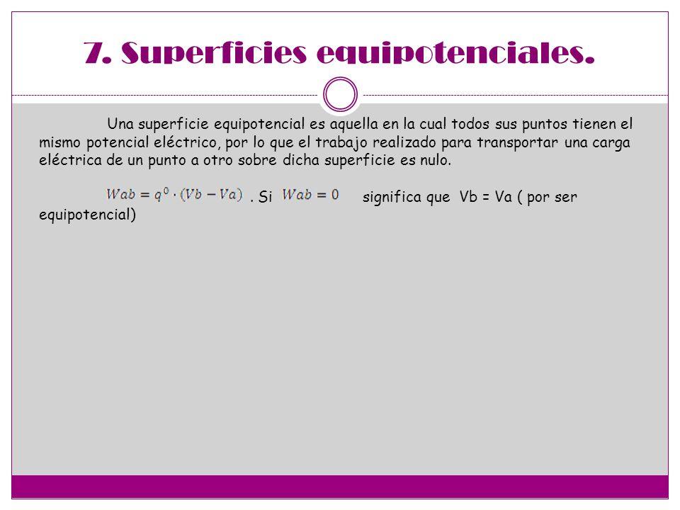 7. Superficies equipotenciales. Una superficie equipotencial es aquella en la cual todos sus puntos tienen el mismo potencial eléctrico, por lo que el