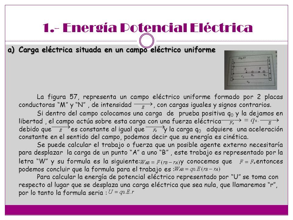 1.- Energía Potencial Eléctrica a)Carga eléctrica situada en un campo eléctrico uniforme La figura 57, representa un campo eléctrico uniforme formado