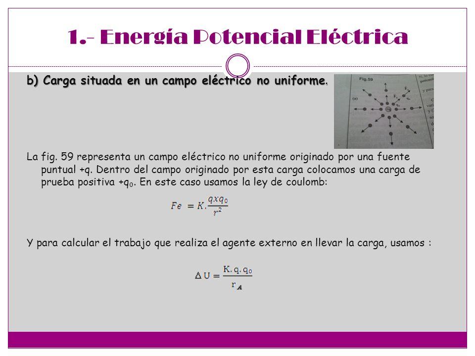 2.-Potencial Eléctrico La energía potencial eléctrico esta formado por una carga puntual representada +q y una carga de prueba representado por la carga de prueba representado por +q 0, que están a una distancia denominada con la letra r, ´por lo tanto la formula de ´potencial eléctrico U es igual a : Esta energía se mide por el trabajo W, que es la fuerza que se necesita para desplazar una carga que esta en el infinito hasta la distancia r que esta dada entre +q y +q 0, por lo tanto: Dividiendo esto entre q 0 obtiene: El coeficiente entre W/ q 0, es igual a decir potencial eléctrica que se designa con la letra V por lo tanto : El potencial eléctrico se define como una magnitud que se mide por el cociente entre el trabajo W que debe realizar un agente externo para desplazar una carga de prueba con rapidez constante desde el infinito hasta el punto considerado y el valor de dichas cargas.
