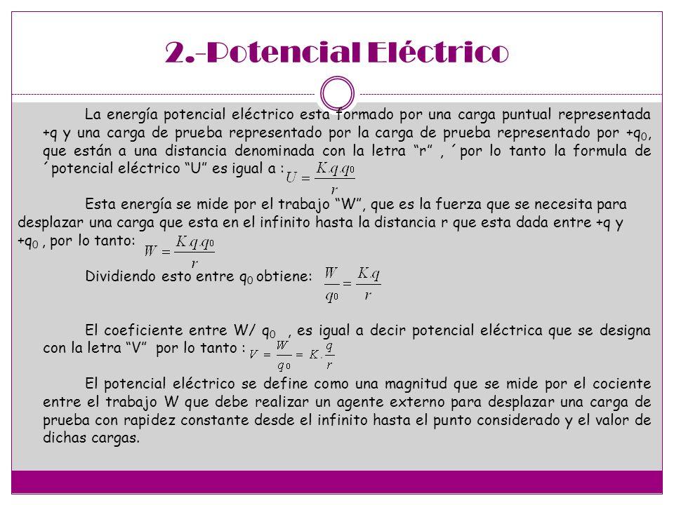 2.-Potencial Eléctrico La energía potencial eléctrico esta formado por una carga puntual representada +q y una carga de prueba representado por la car