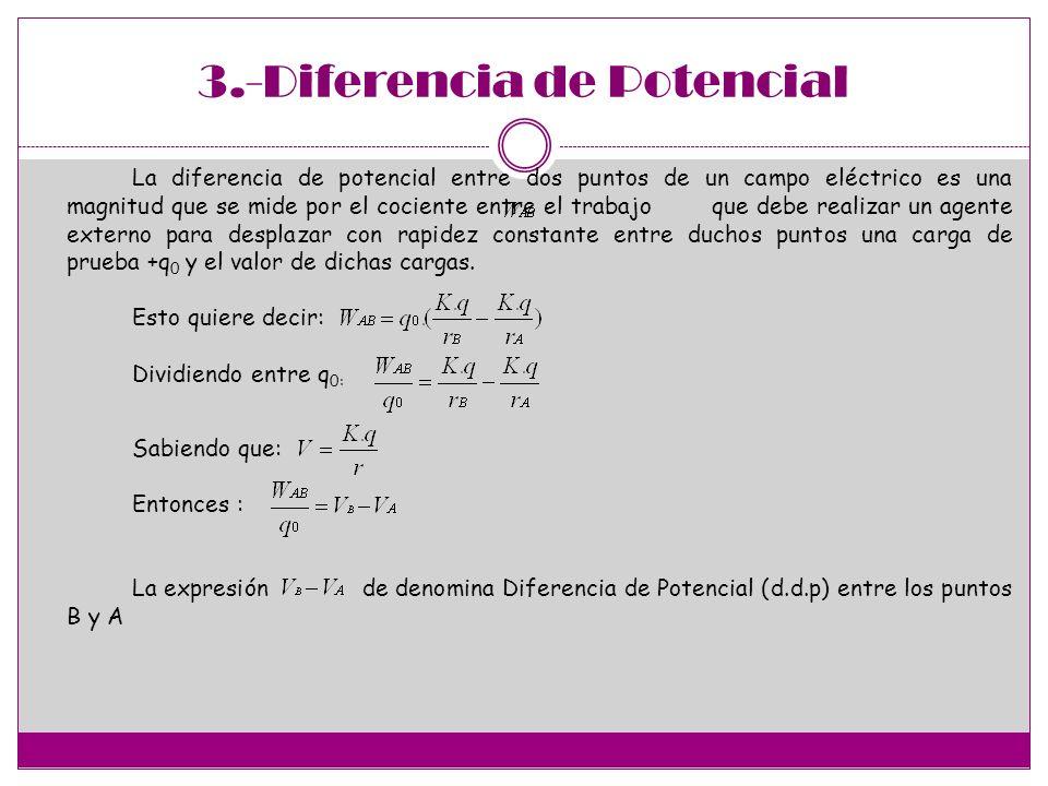3.-Diferencia de Potencial La diferencia de potencial entre dos puntos de un campo eléctrico es una magnitud que se mide por el cociente entre el trabajo que debe realizar un agente externo para desplazar con rapidez constante entre duchos puntos una carga de prueba +q 0 y el valor de dichas cargas.