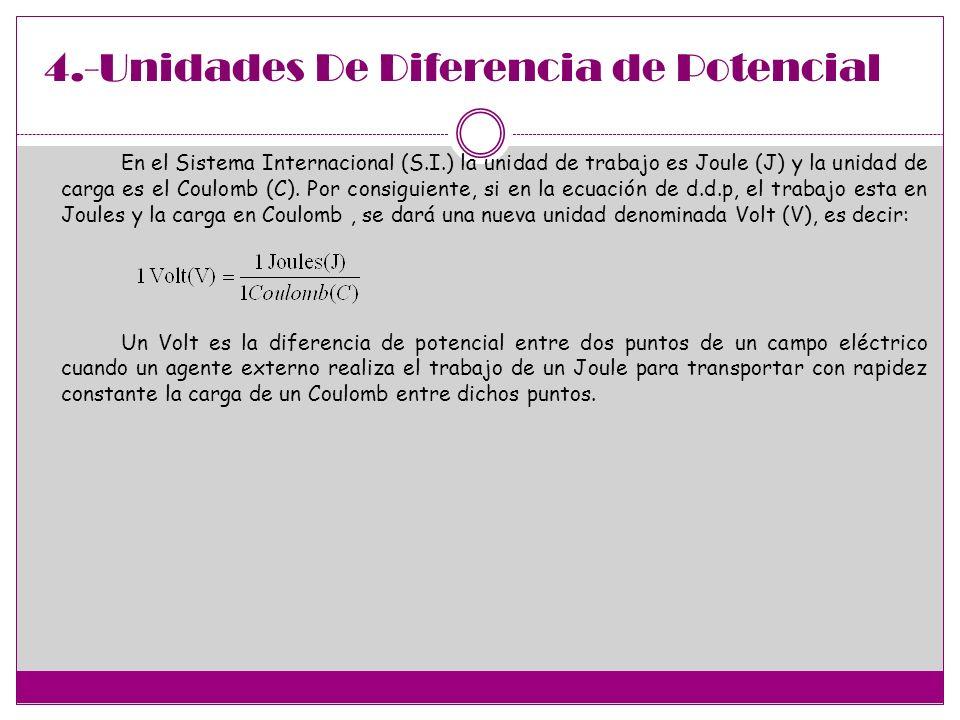 4.-Unidades De Diferencia de Potencial En el Sistema Internacional (S.I.) la unidad de trabajo es Joule (J) y la unidad de carga es el Coulomb (C). Po