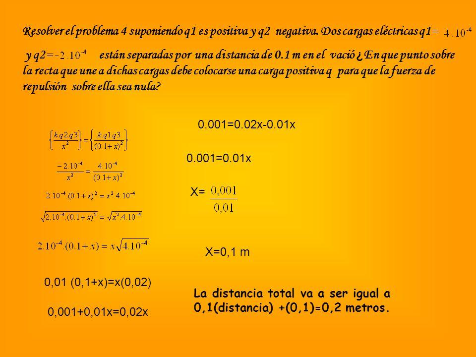 Resolver el problema 4 suponiendo q1 es positiva y q2 negativa. Dos cargas eléctricas q1= y q2= - están separadas por una distancia de 0.1 m en el vac